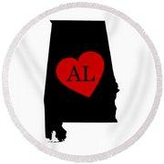 Love Alabama Black Round Beach Towel