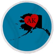 Love Alaska Black Round Beach Towel