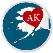 Love Alaska White Round Beach Towel