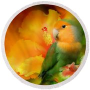 Love Among The Hibiscus Round Beach Towel