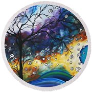 Love And Laughter By Madart Round Beach Towel by Megan Duncanson