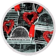 Love And Lobster Round Beach Towel