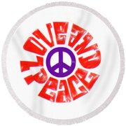 Love And Peace 14 Round Beach Towel