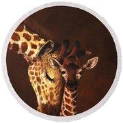 Love And Pride Giraffes Round Beach Towel
