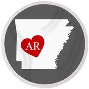 Love Arkansas White Round Beach Towel