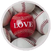 Love Baseball Round Beach Towel