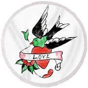 Love Bird Tattoo Round Beach Towel