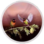 Love Birds By John Junek  Round Beach Towel