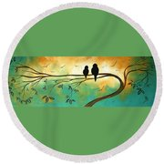 Love Birds By Madart Round Beach Towel