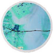 Love Birds In Blue Maternity Round Beach Towel
