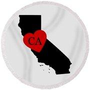 Love California Black Round Beach Towel