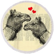 Love Camels Round Beach Towel