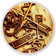 Love Charms In Romantic Signs And Symbols Round Beach Towel