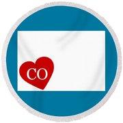 Love Colorado White Round Beach Towel