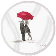Love Couple With Red Umbrella Round Beach Towel