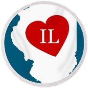 Love Illinois White Round Beach Towel