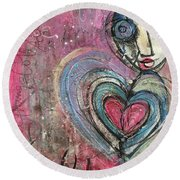 Love In All Things Round Beach Towel