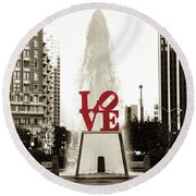 Love In Philadelphia Round Beach Towel