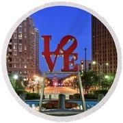 Love In Philadelphia Round Beach Towel