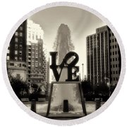 Love In Sepia Round Beach Towel
