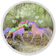 Love In The Magical Forest Round Beach Towel