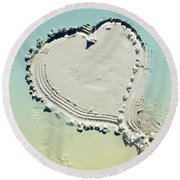 Love In The Sand Round Beach Towel