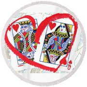 Love Is In The Cards Round Beach Towel