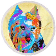 Love Is In The Dog's Eyes  Round Beach Towel