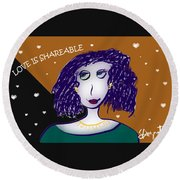 Love Is Shareable Round Beach Towel