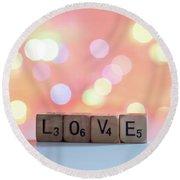 Love Lights Square Round Beach Towel