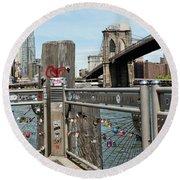 Love Locks In Brooklyn New York Round Beach Towel