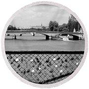 Love Locks Over The Seine Round Beach Towel