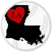 Love Louisiana Black Round Beach Towel