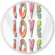 Love Love Love Phone Case Round Beach Towel