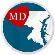 Love Maryland White Round Beach Towel