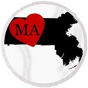 Love Massachusetts Black Round Beach Towel
