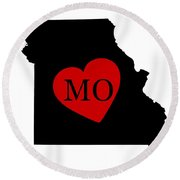 Love Missouri Black Round Beach Towel