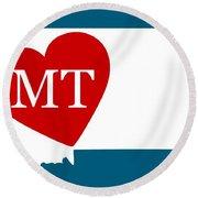 Love Montana White Round Beach Towel
