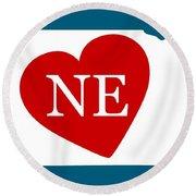 Love Nebraska White Round Beach Towel