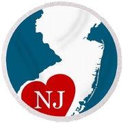Love New Jersey White Round Beach Towel