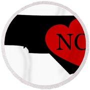Love North Carolina Black Round Beach Towel