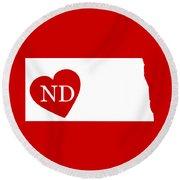 Love North Dakota White Round Beach Towel