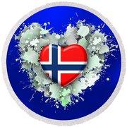 Love Norway 2 Round Beach Towel