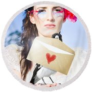 Love Note Delivery From The Heart Round Beach Towel