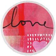 Love Notes- Art By Linda Woods Round Beach Towel