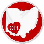 Love Ohio White Round Beach Towel