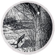 Love On A Tree Round Beach Towel by CJ Schmit