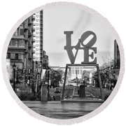 Love On The Parkway In Black And White Round Beach Towel
