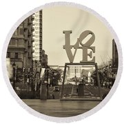 Love On The Parkway In Sepia Round Beach Towel