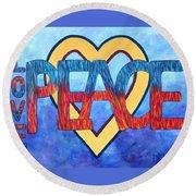 Love Peace Round Beach Towel